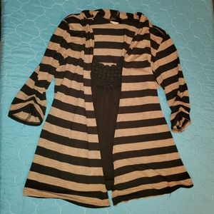 Black shirt with attatched stiped jacket